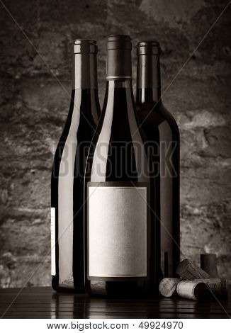 Bottles Of Red Wine, Monochromatic