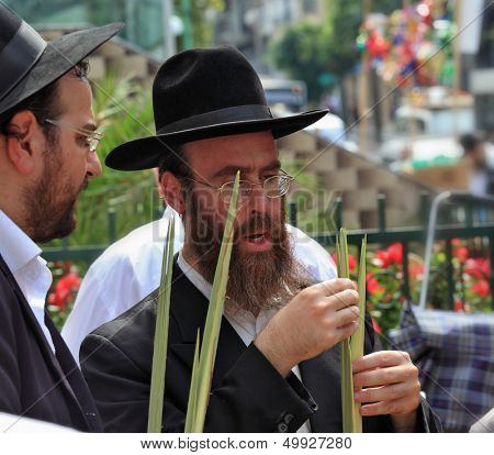 Bnei Brak - September 22: Two Orthodox Jews in black hats picks Lula before Sukkot September 22, 2010 in Bnei Brak, Israel