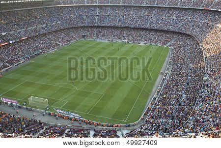 BARCELONA, SPAIN- AUGUST 18: A sold out Barcelona football stadium Camp Nou during the match between FC Barcelona and FC Levante on August 18, 2013 in Barcelona, Spain.