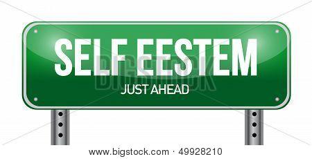 Self Esteem Road Sign Illustration Design