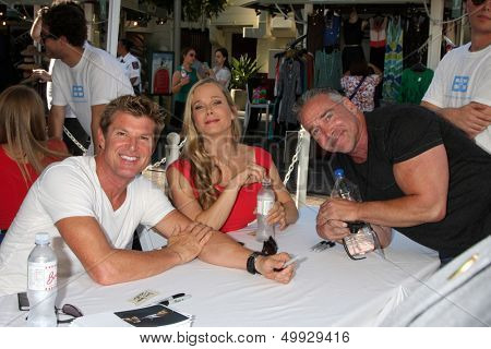 LOS ANGELES - AUG 23:  Winsor Harmon, Jennifer Gareis, Michael Fairman at the Bold and Beautiful Fan Meet and Greet at the Farmers Market on August 23, 2013 in Los Angeles, CA