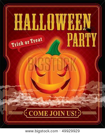 Vintage halloween party poster design