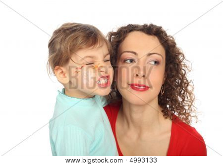 Smiling Mother And Painted Child