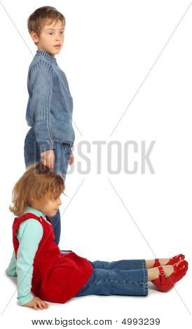 Boy With Girl Represent Letter L