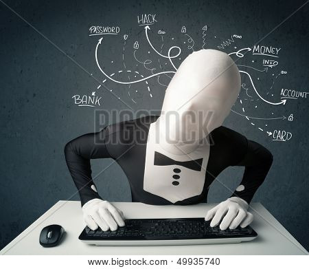 Dangerous morphsuit hacker with white drawn line thoughts