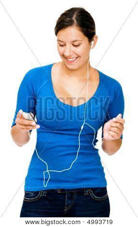 Caucasian Woman Listening Mp3