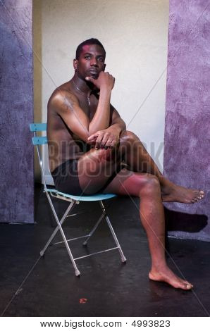 Handsome Male Black African American Actor On Theater Stage Without Clothes