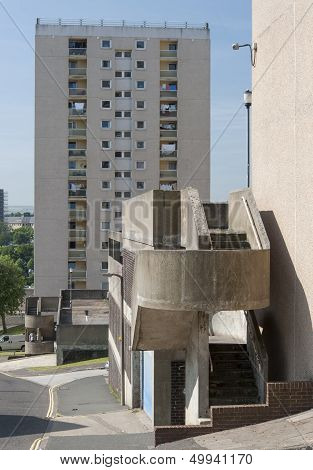 concrete staircase attached to a block of council flats