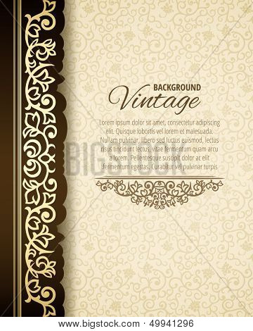 Vintage background with golden border and retro pattern