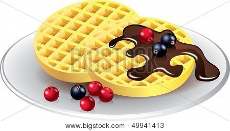 Belgian Waffles With Chocolate And Berries