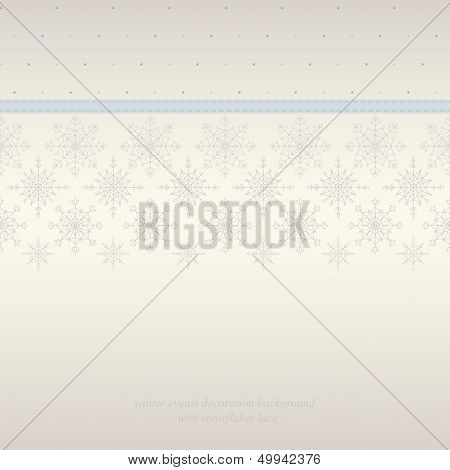 Seamless snowflakes lace background.