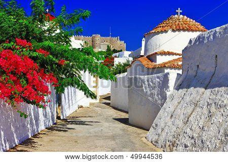 religious Greece.Patmos island. churches and monastery