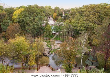 Aerial View Of The Autumn Park