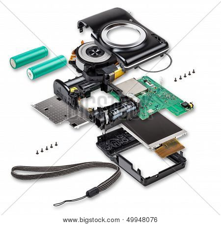 Explode View Of Compact Digital Photo Camera