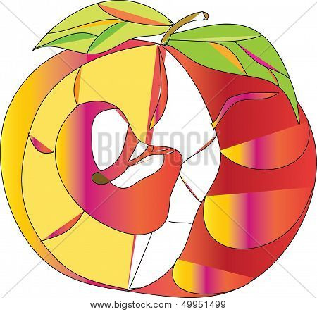 apple, cut, proportion of the leaves,