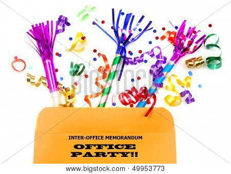 Inter-office memo file with party favors for an office party