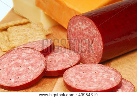 Fresh salami with cheddar and Swiss cheese and whole wheat crackers