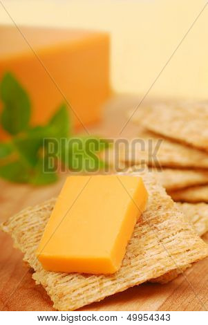 Cheddar cheese on a whole wheat cracker served as an appetizer.