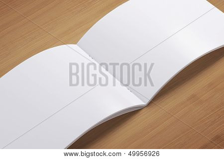 Blank Opened Magazine On Wooden Background