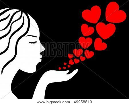Female Blowing Heart Kisses