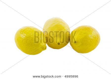 Three Fresh Yellow Lemon Isolated Over White Background