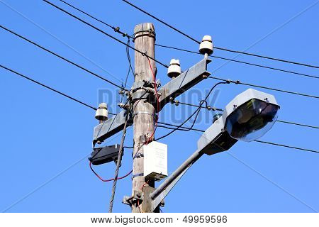 Wooden Street Lamp And Cables