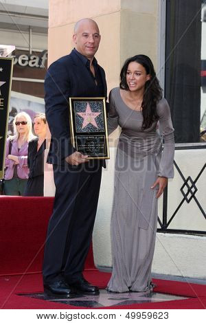 SuppCat2} - AUG 26:  Vin Diesel, Michelle Rodriguez at the Vin DIesel Walk of Fame Star Ceremony at the Roosevelt Hotel on August 26, 2013 in Los Angeles, CA