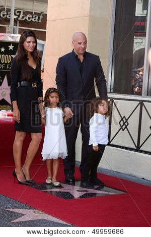 SLOS ANGELES - AUG 26:  Paloma Jimenez, Hania Riley Diesel, Vin Diesel, Vincent Diesel at the Vin DIesel Walk of Fame Star Ceremony at the Roosevelt Hotel on August 26, 2013 in Los Angeles, CA
