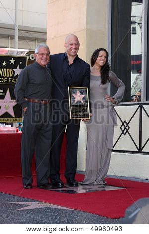 SLOS ANGELES - AUG 26:  Ron Meyer, Vin Diesel, Michelle Rodriguez at the Vin DIesel Walk of Fame Star Ceremony at the Roosevelt Hotel on August 26, 2013 in Los Angeles, CA