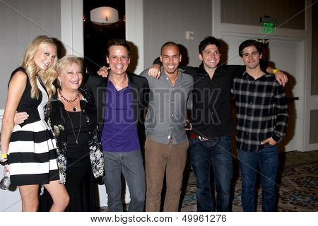 LOS ANGELES - AUG 24:  Melissa Ordway, Beth Maitland, Christian LeBlanc, Bryton James, Robert Adamson, Max Ehrich at the YnR Fan Dinner at the Universal Sheraton on August 24, 2013 in Los Angeles, CA
