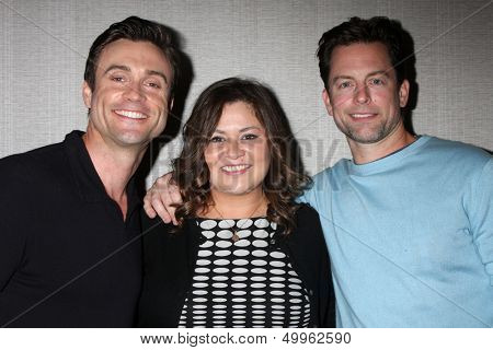 LOS ANGELES - AUG 24:  Daniel Goddard, Angelica McDaniel, Michael Muhney at the Young & Restless Fan Club Dinner at the Universal Sheraton Hotel on August 24, 2013 in Los Angeles, CA
