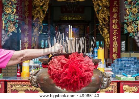 Chinese Incenses In A Buddhist Temple