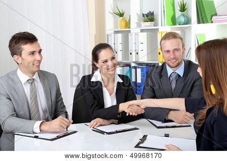 Job applicants having interview
