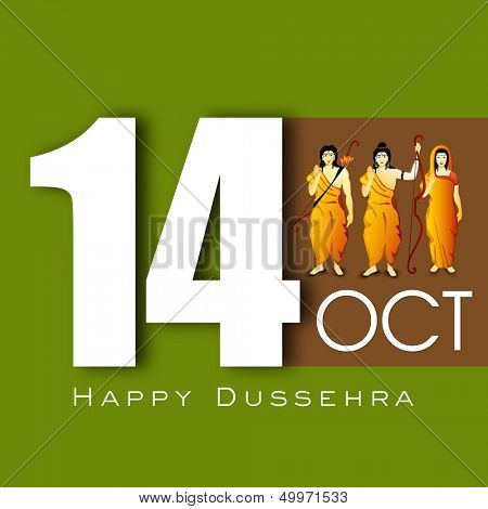 Indian festival Happy Dussehra background with illustration of Hindu community Lord Rama, Sita and Laxman,