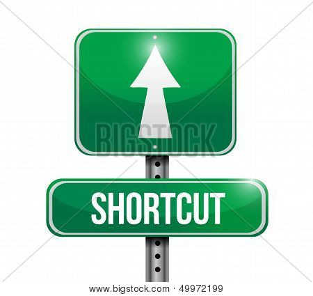 Shortcut Road Sign Illustration Design