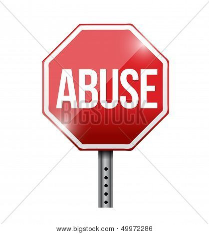 Stop Abuse Road Sign Illustration Design
