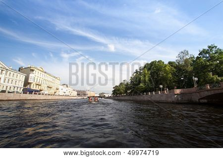 RUSSIA - JUNE 24: On boat along channels city, June 24, 2013, SPb, Russia.