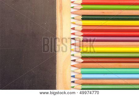 Colorful pencil border blank blackboard