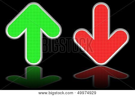 Green Up And Red Down Arrows On Glossy Black Background