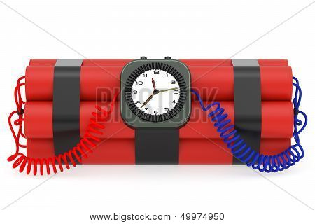 Time Bomb With Dynamite And Clock Detonator On White