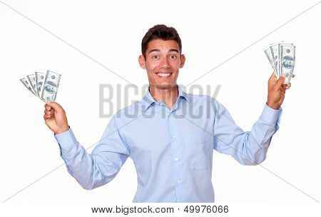 Charismatic Male Standing And Holding Money