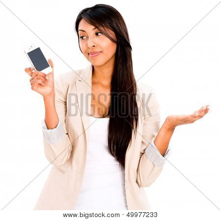 Woman by the phone waiting for a call - isolated over white background