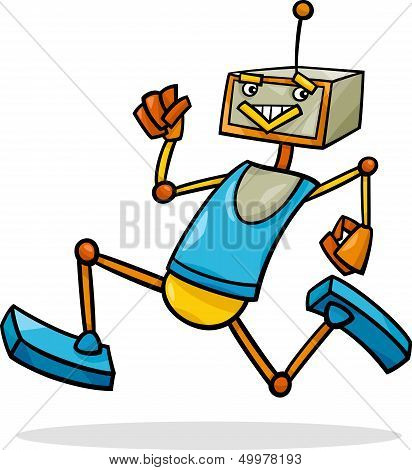 Cartoon Running Robot Illustration