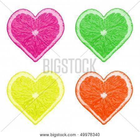 Multicolored pieces of orange in form of heart isolated on white