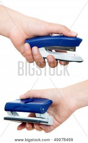 Puncher And Stapler With Hand