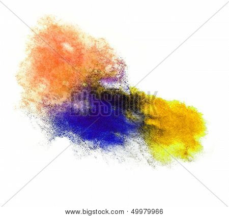 0_watercolor Yellow, Purple Splash Isolated Spot Handmade Colored Background Annotation Ink On Paper