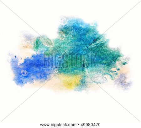 0_watercolor Blue, Green Splash Isolated Spot Handmade Colored Background Annotation Ink On Paper.jp