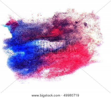 watercolor blue, red splash isolated spot handmade colored backg