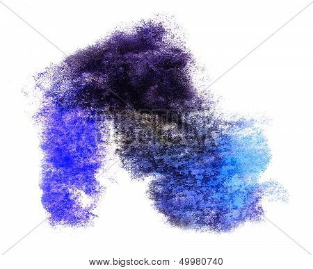 watercolor splash blue isolated spot handmade colored background