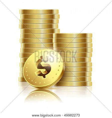illustration of golden dollar coins isolated on a white background. Vector EPS10.
